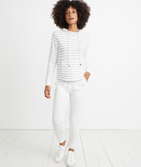 Double Knit Lounge Pant in Natural/Black Stripe