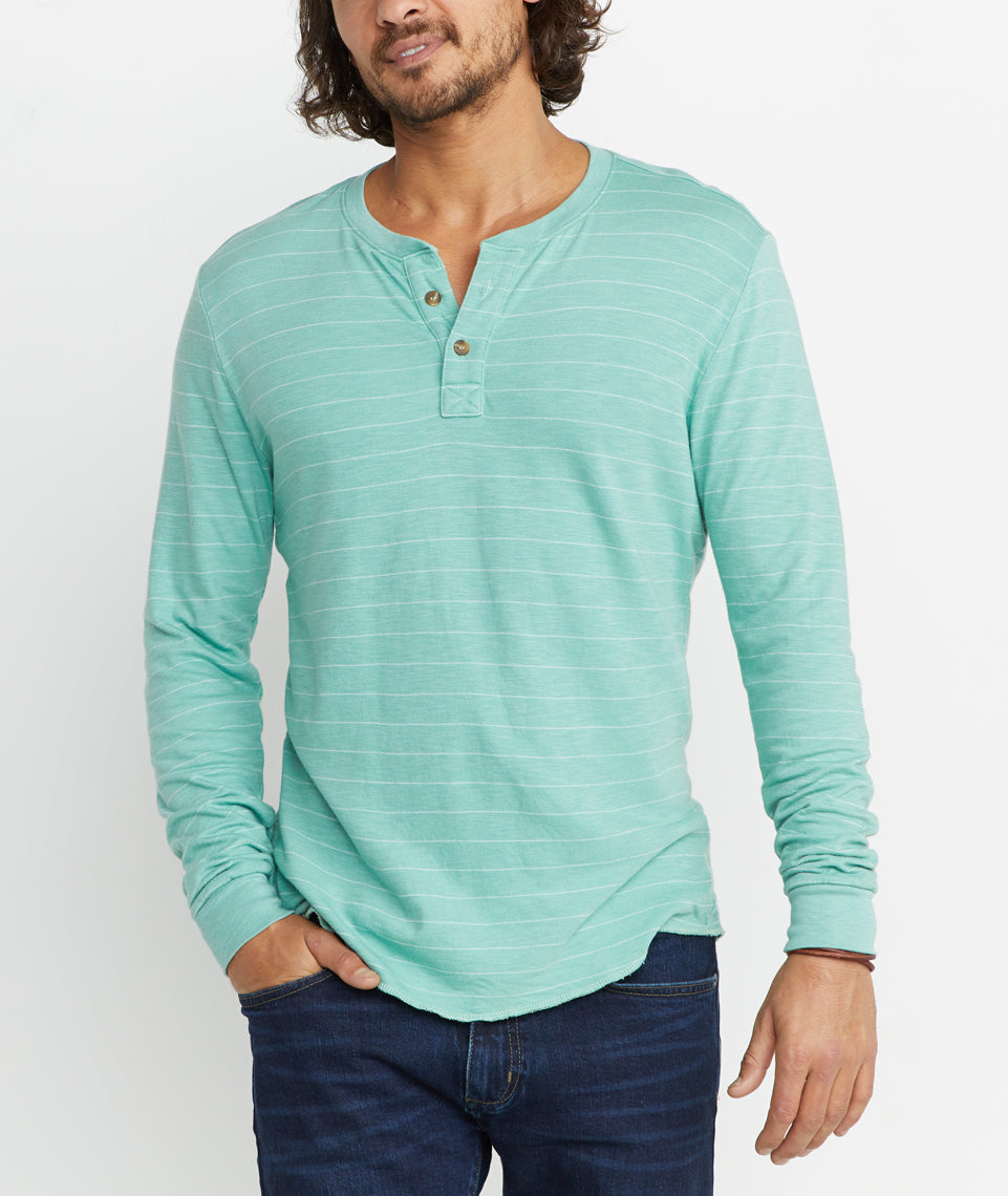 Double Knit Henley in Malachite Stripe