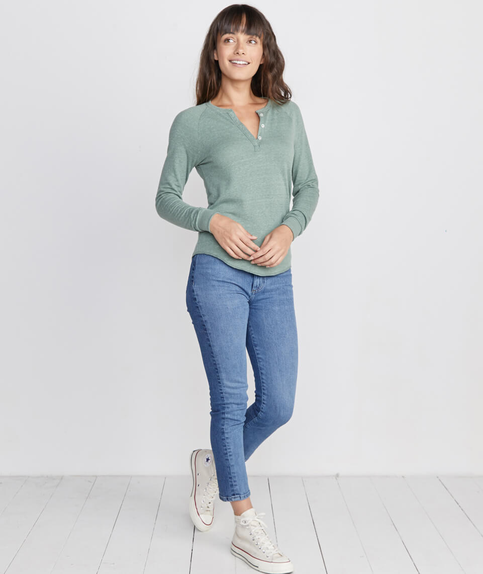 Double Knit Henley in Laurel Wreath