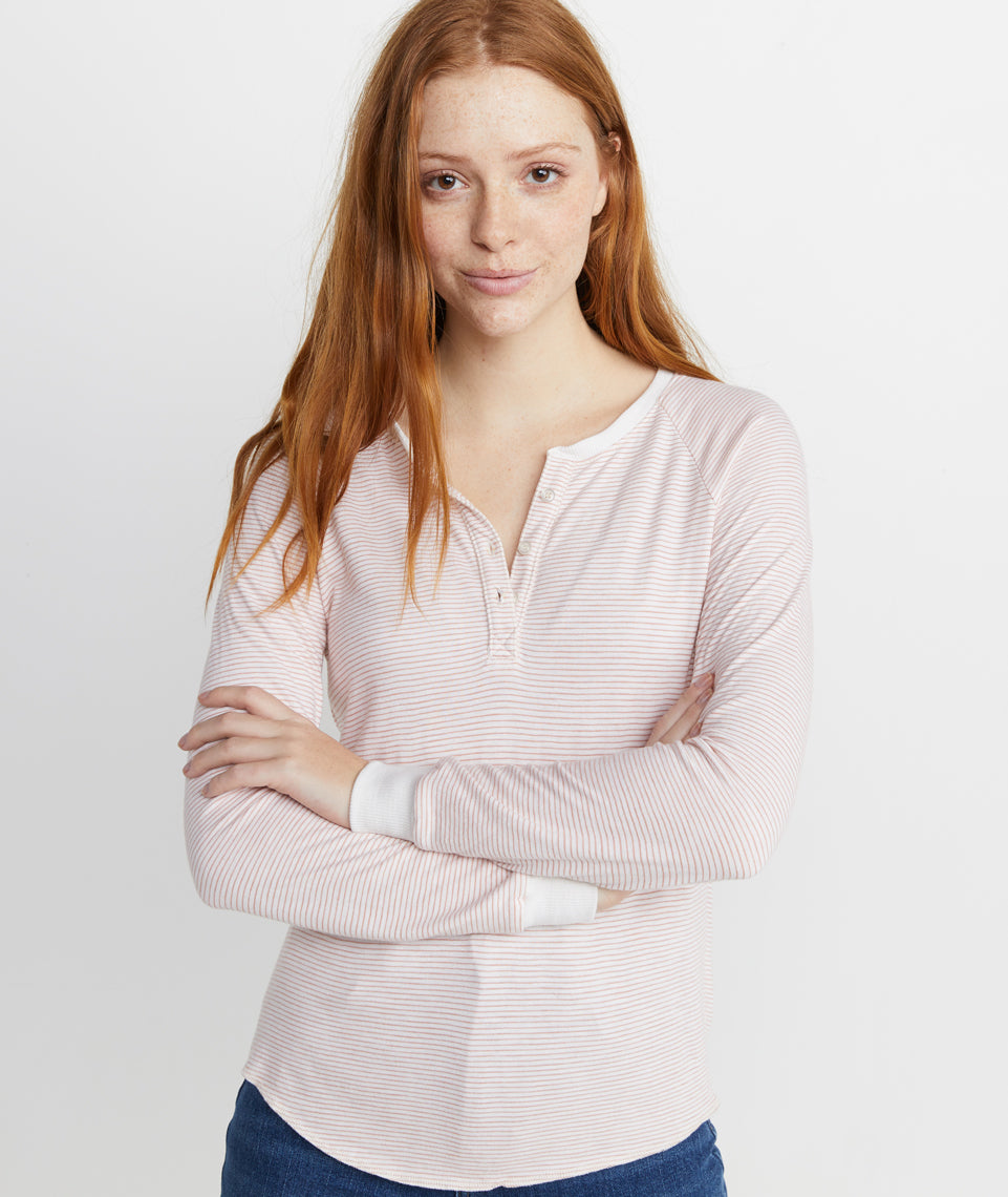 Double Knit Henley in  Rose Cloud Stripe