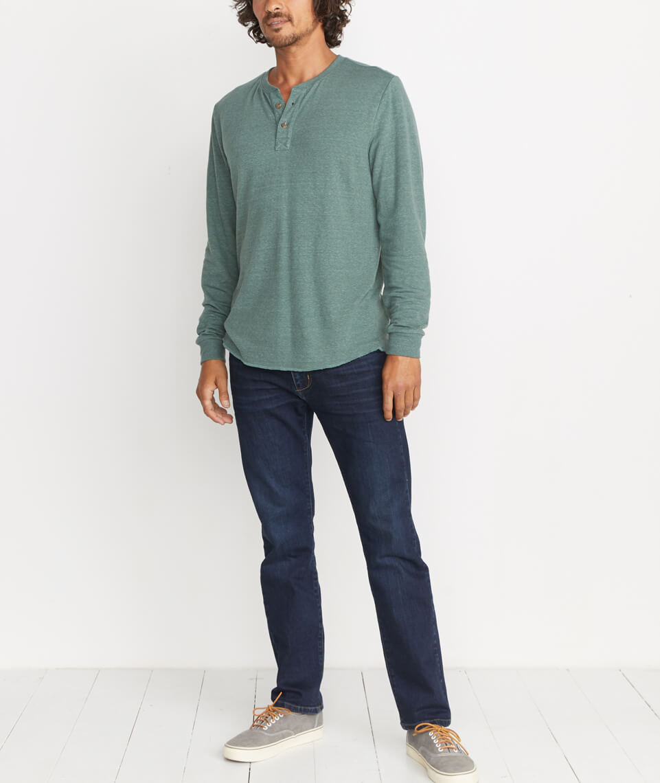 Double Knit Henley in Forest Green