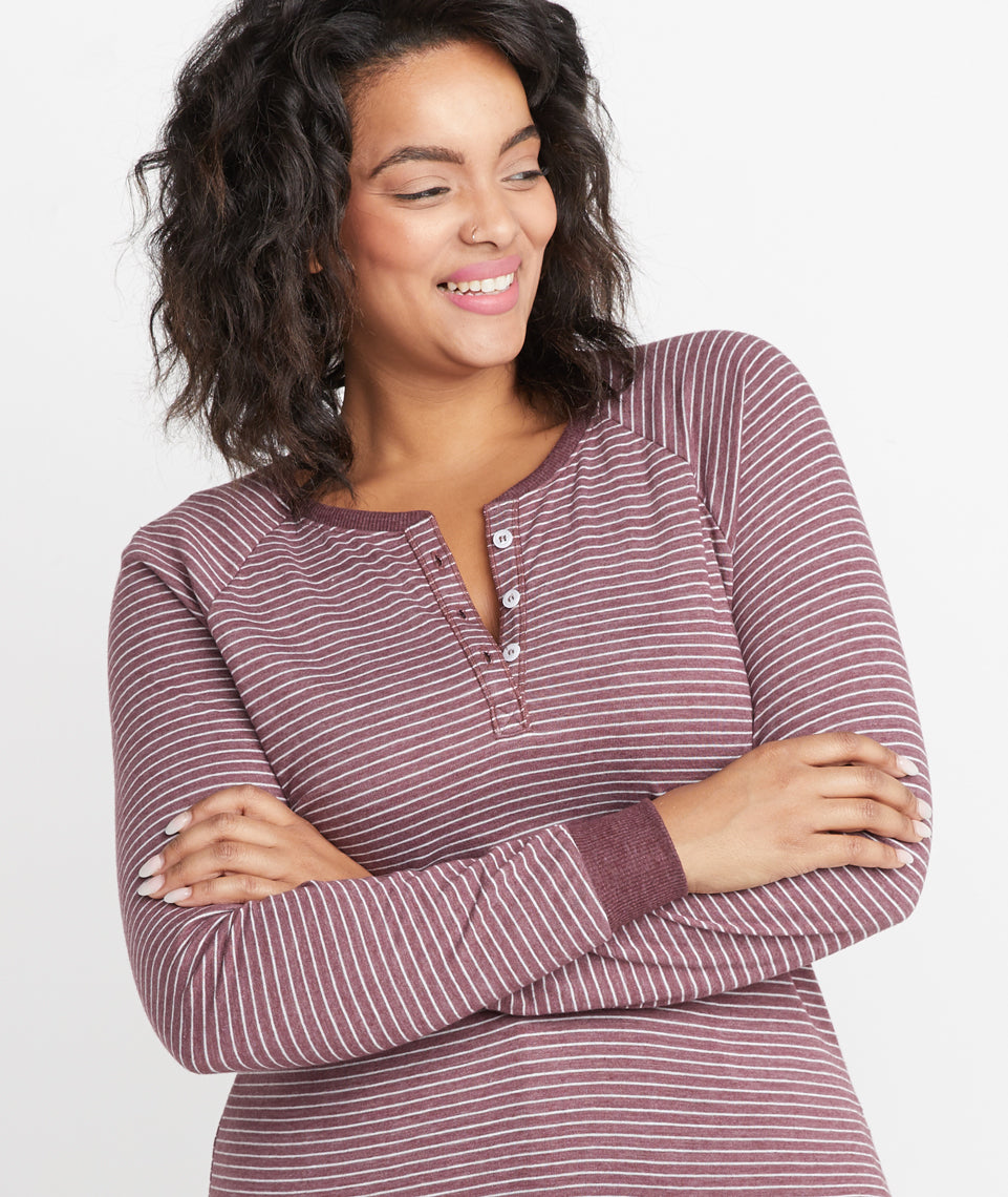 Double Knit Henley in Port Royal/White Stripe