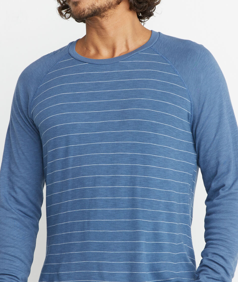 Double Knit Baseball Raglan in Vintage Indigo Stripe