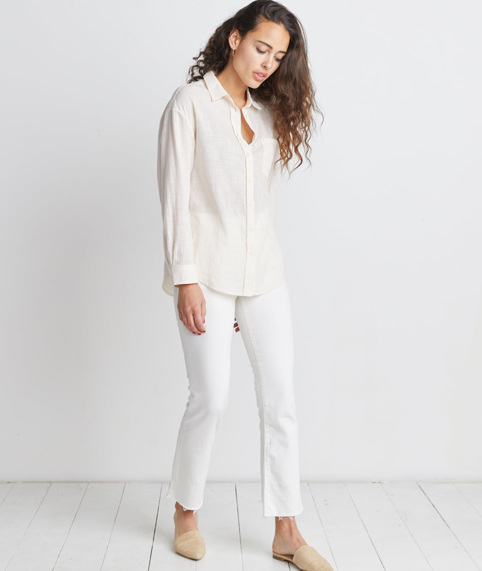 Donna Boyfriend Button Down in Cream Tan