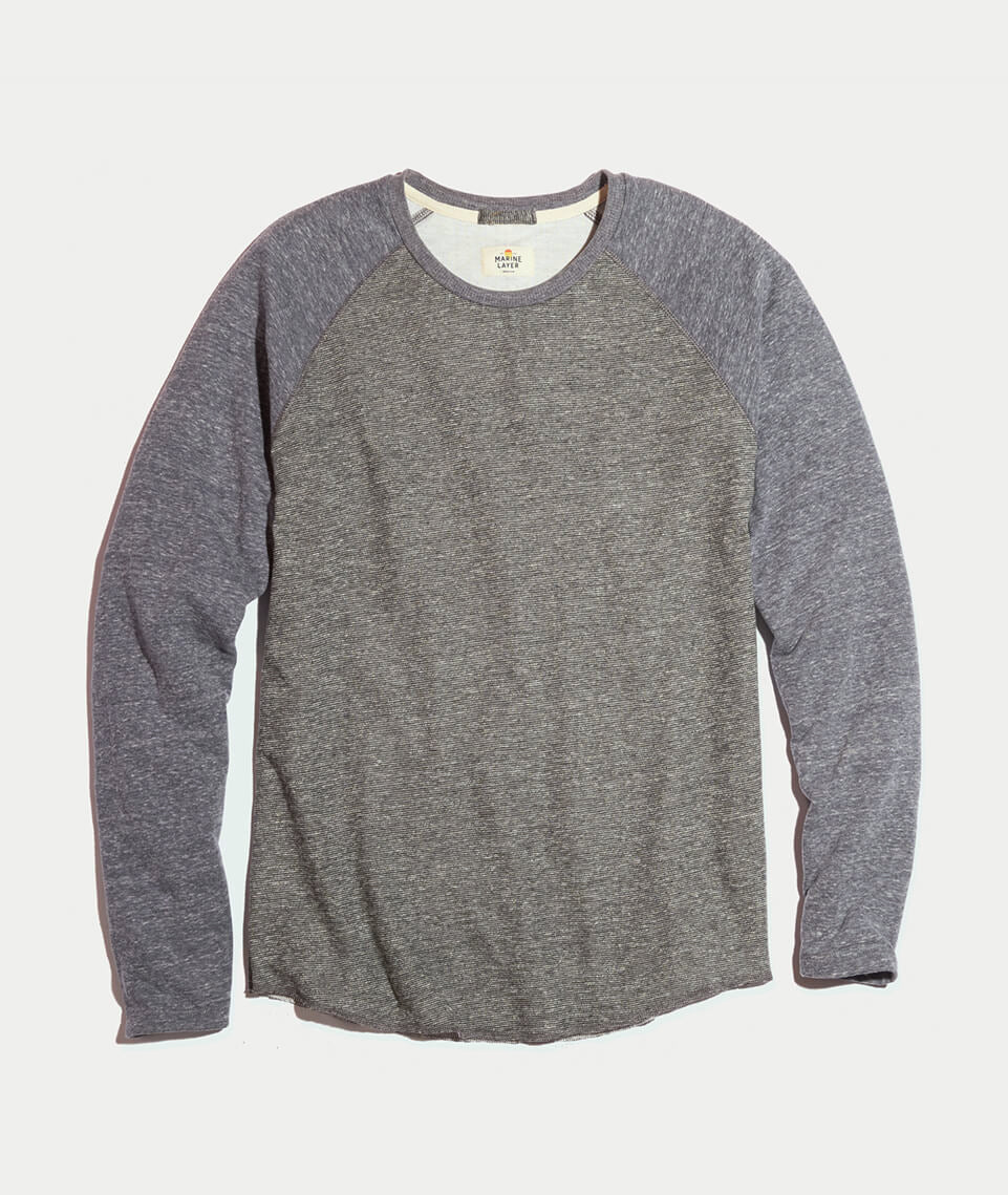 Double Knit Baseball Raglan in Heather Grey Stripe