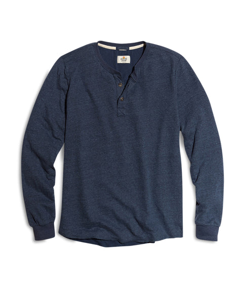 Double Knit Henley in Dark Navy