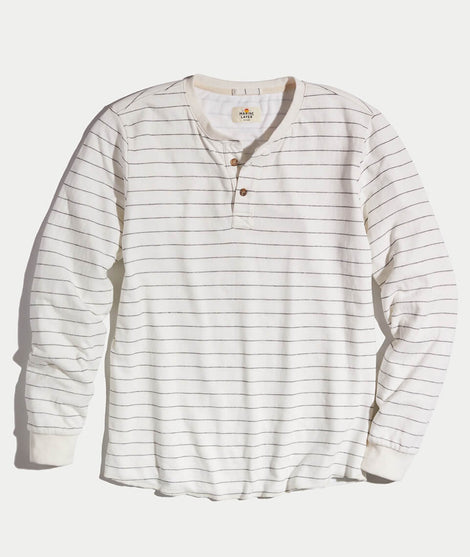 Double Knit Henley in Natural Stripe