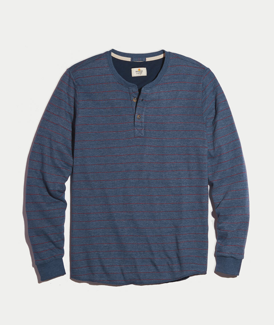Double Knit Henley in Navy/Red Stripe