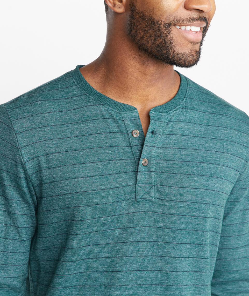 Double Knit Henley in Green/Blue Stripe