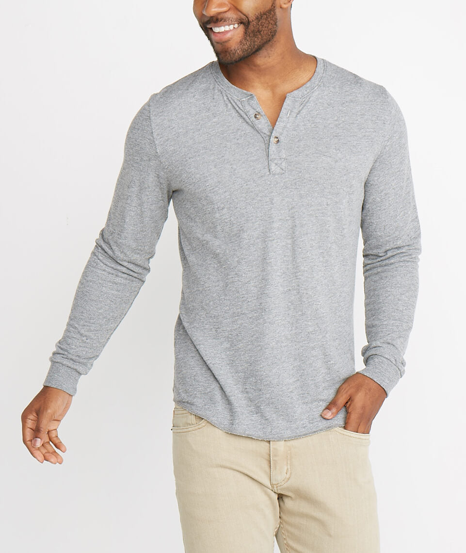 Double Knit Henley in Heather Grey