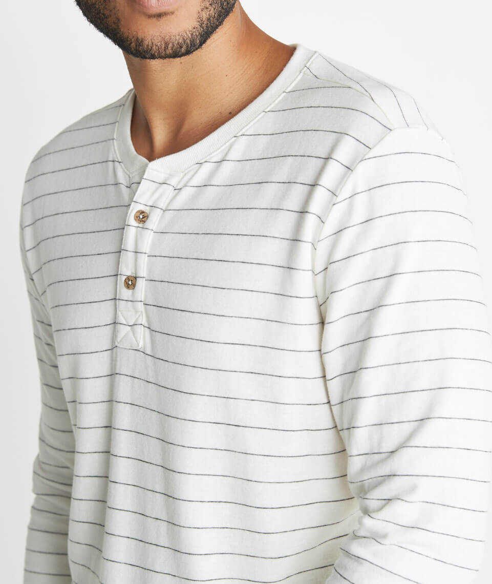 Double Knit Henley in Natural Ticking Stripe