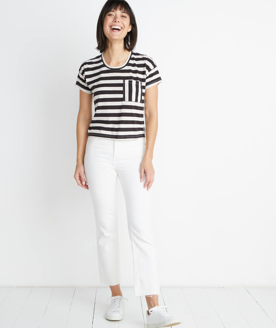 Drop Shoulder Pocket Tee in Black/White Stripe