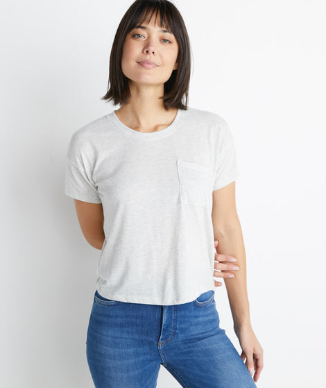 Drop Shoulder Pocket Tee in Ash Heather