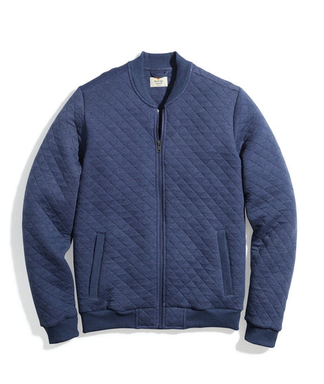 Corbet Quilted Bomber in Faded Navy Heather