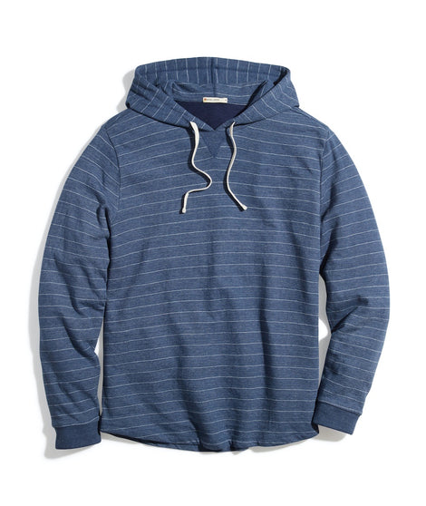 Double Knit Pullover Hoodie in Navy/White