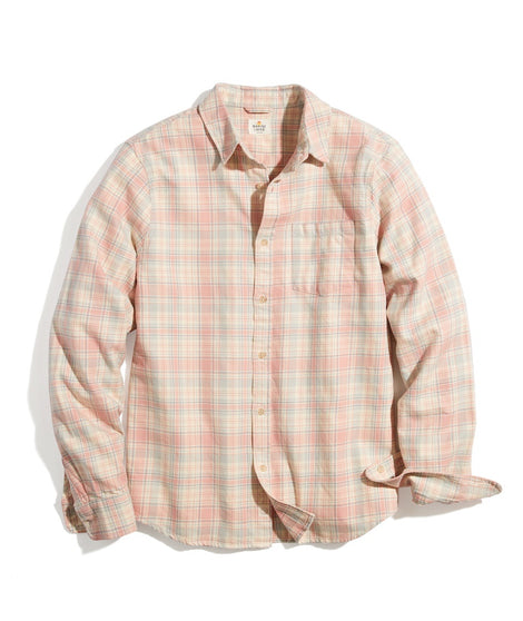 Classic Fit Double Twill Shirt in Rose/Cream Plaid