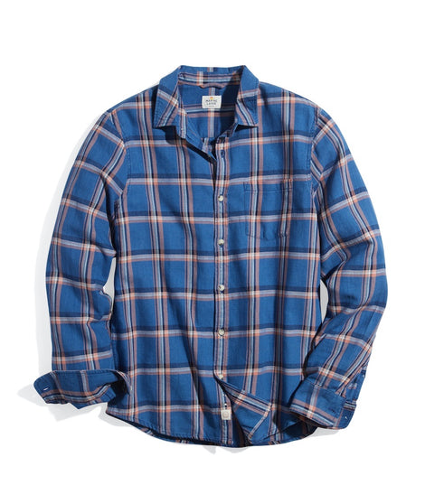 Classic Fit Indigo Twill Shirt in Faded Indigo/Rose Plaid