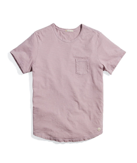 Saddle Hem Pocket Tee in Mauve Shadows/White Stripe