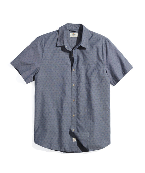 Short Sleeve Printed Chambray Shirt in Geo Print