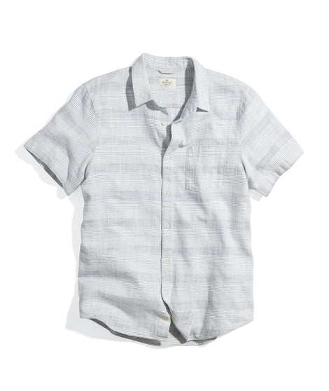 Short Sleeve Selvage Shirt in Blue Variegated Stripe