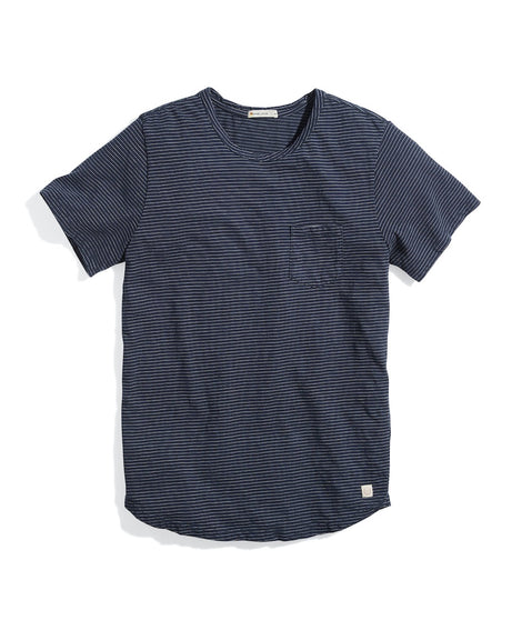 Saddle Hem Pocket Tee in India Ink/White Stripe