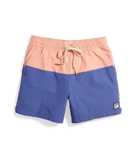 Rincon Swim Trunk in Peach/Marlin Colorblock