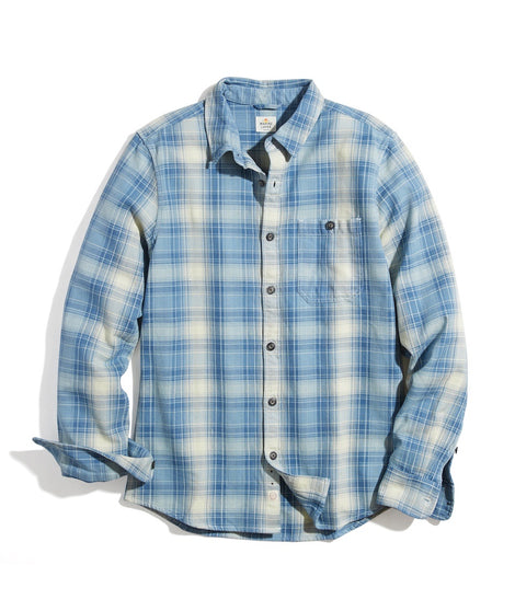 Classic Fit Broken Twill Shirt in Light Indigo Plaid