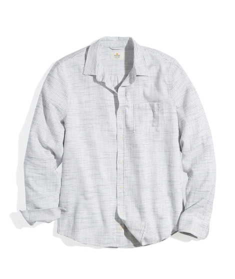 Classic Fit Selvage Shirt in Natural/Navy Stripe
