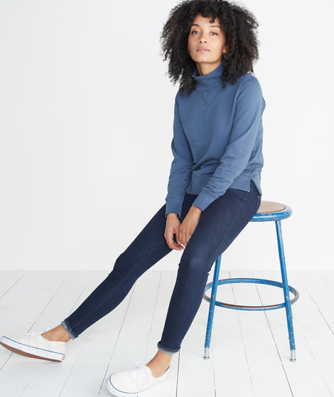 Evie Funnel Neck Sweatshirt in Deep Denim