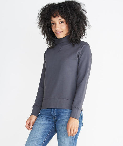 Evie Funnel Neck Sweatshirt in Faded Black