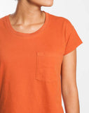 Sueded Jersey Drop Shoulder Tee - Terracotta