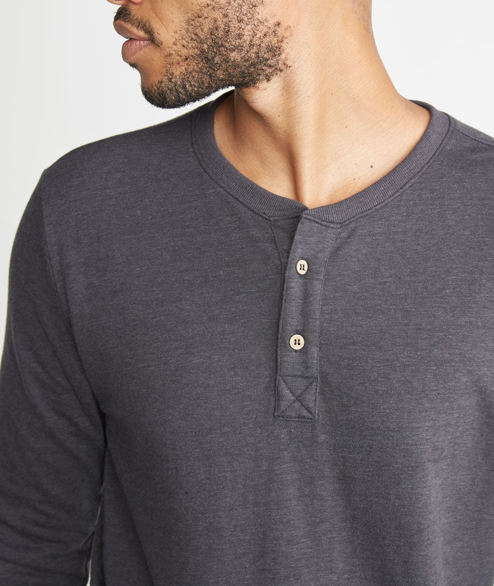 Double Knit Henley in Faded Black – Marine Layer