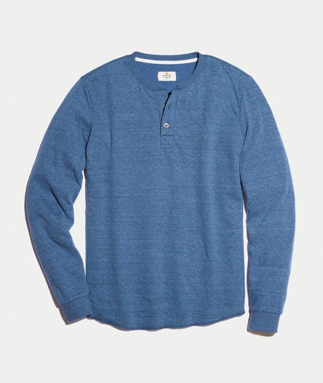 Double Knit Henley in Faded Lagoon