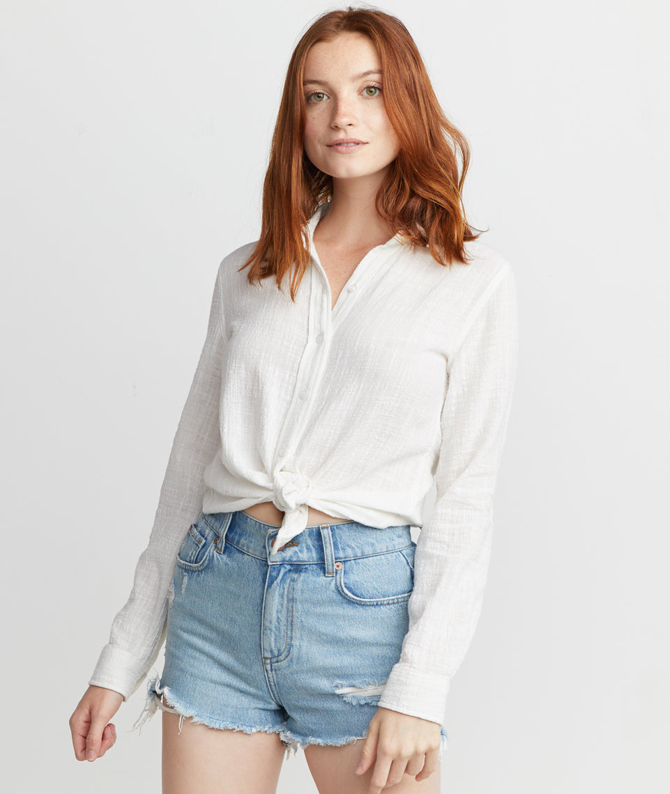 Faye Button Down in Blanc de Blanc