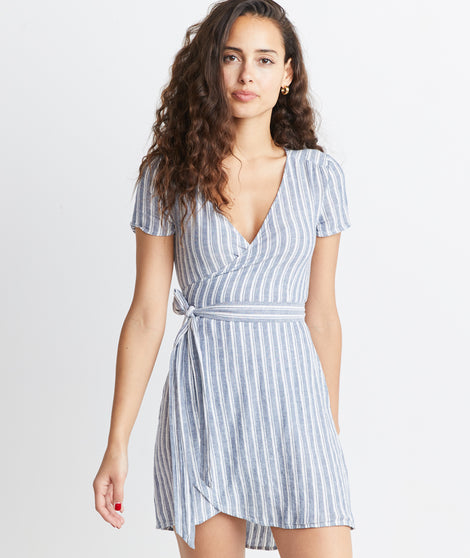 Frances Wrap Dress in Blue Stripe