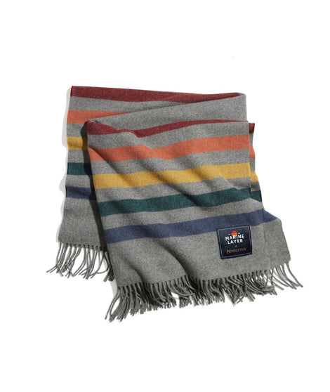 ML x Pendleton Blanket in Grey Heather/Multi Stripe