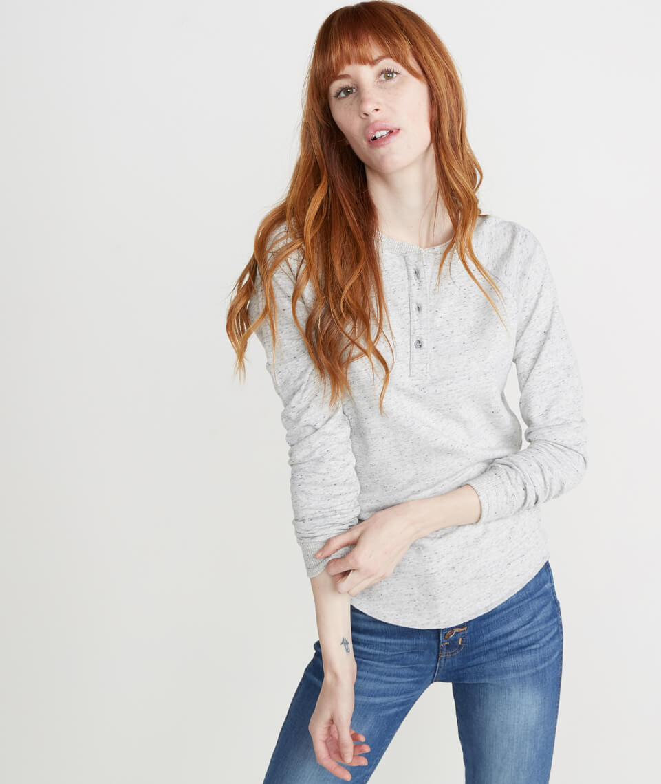 Double Knit Henley in Light Heather Ash