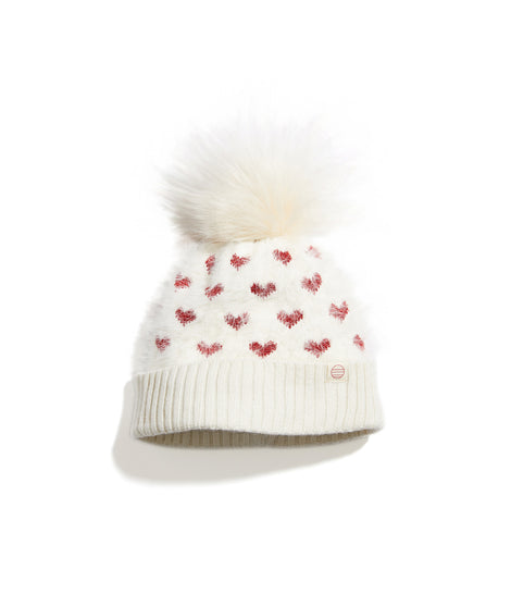 Montrose Pom Beanie in Off White/Red Hearts