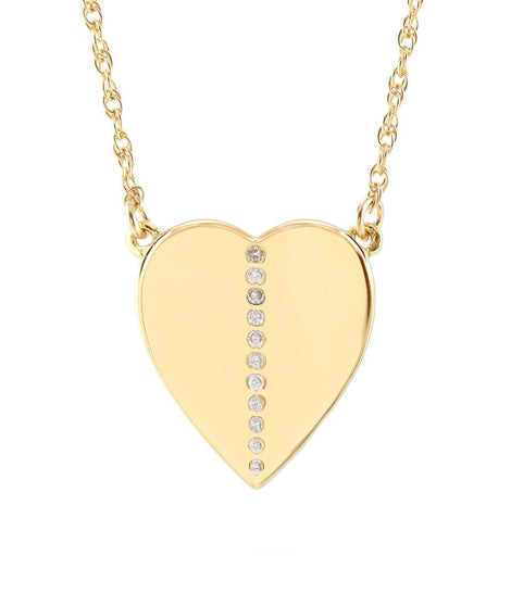 Kris Nations Medium Heart Charm Necklace with Pave