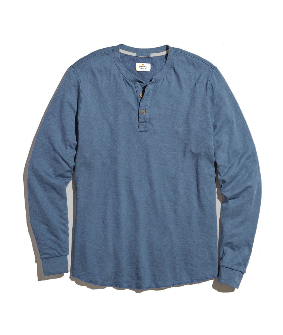 Double Knit Henley in Vintage Indigo