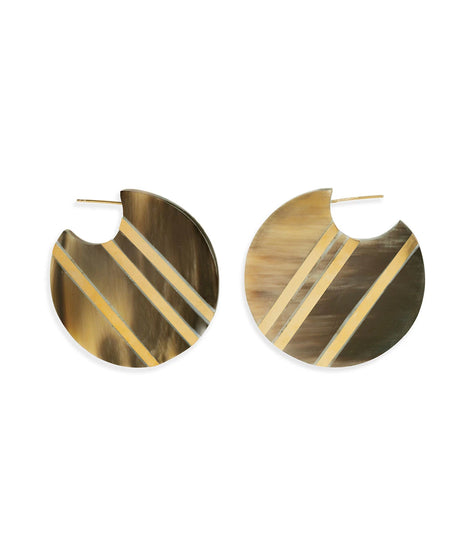 Soko Horn Stripe Circle Hoops