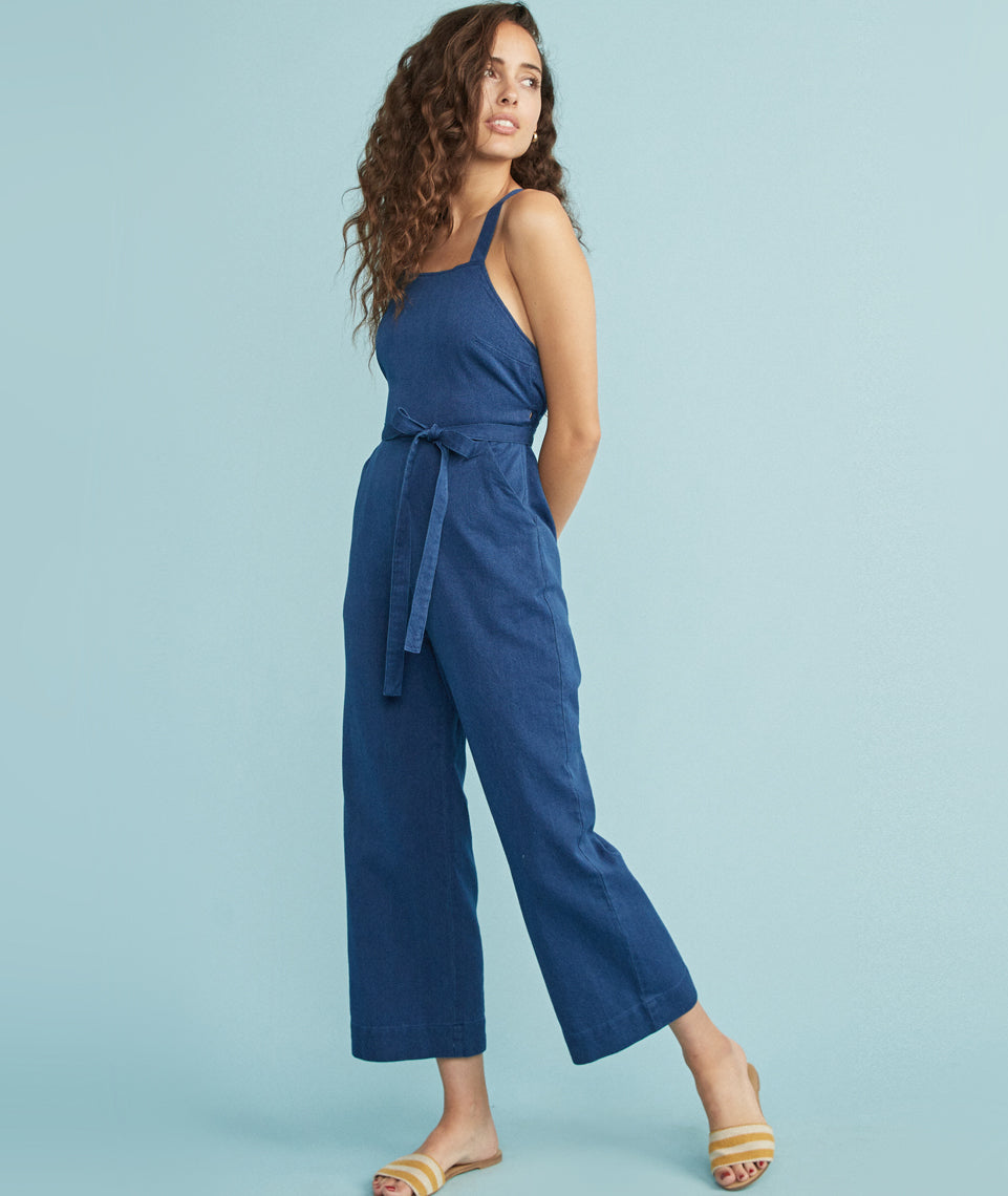 Tess Jumpsuit in Chambray Blue