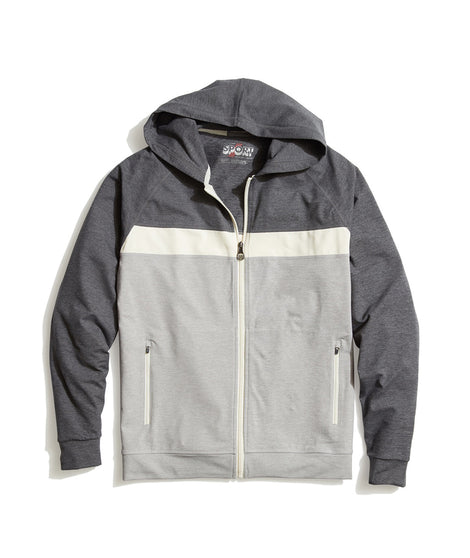 Keeler Zip Hoodie in Grey/White