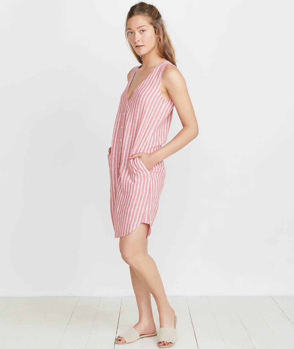 Lake Tank Dress in Red Stripe