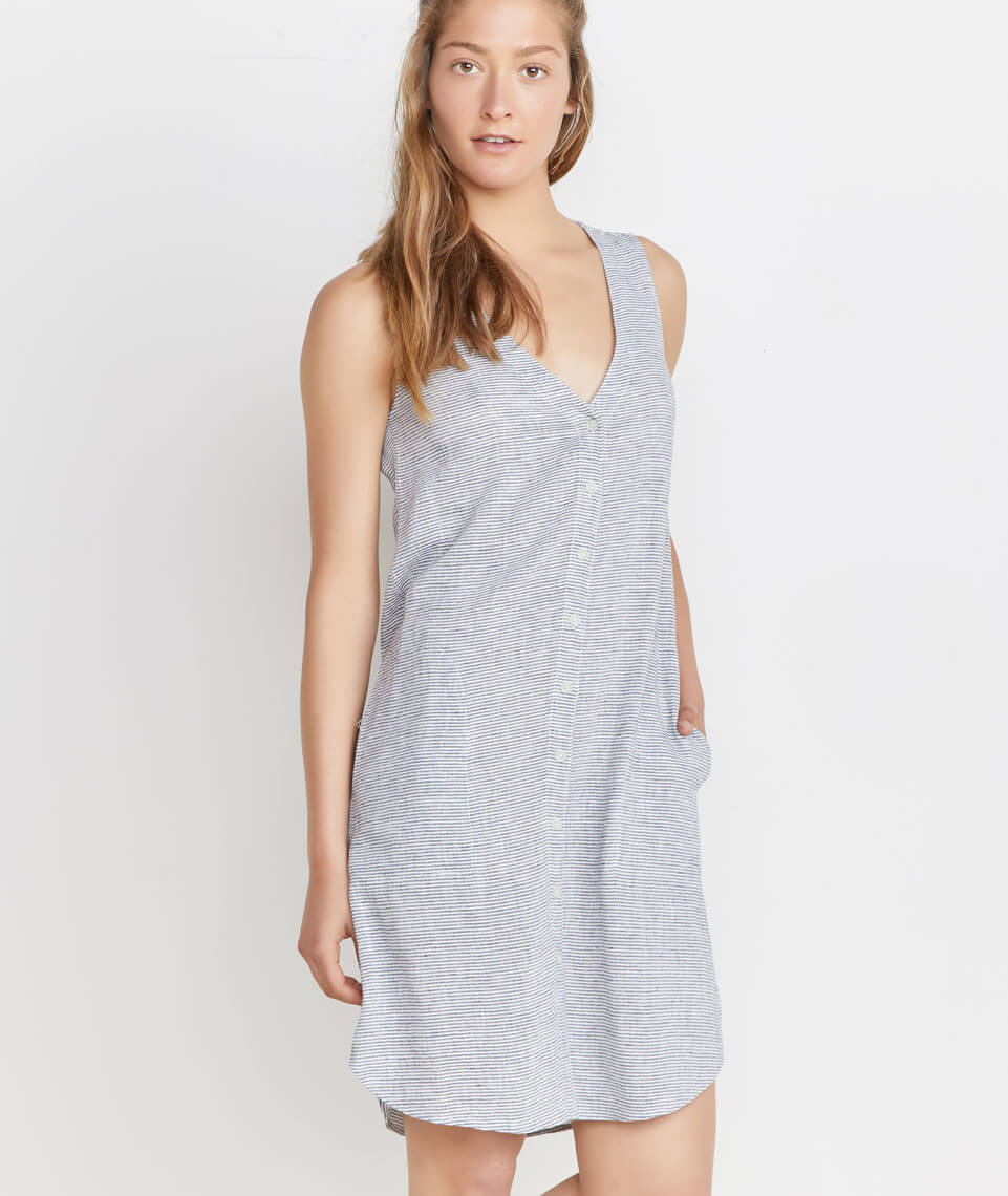 Lake Tank Dress in Thin Blue Stripe