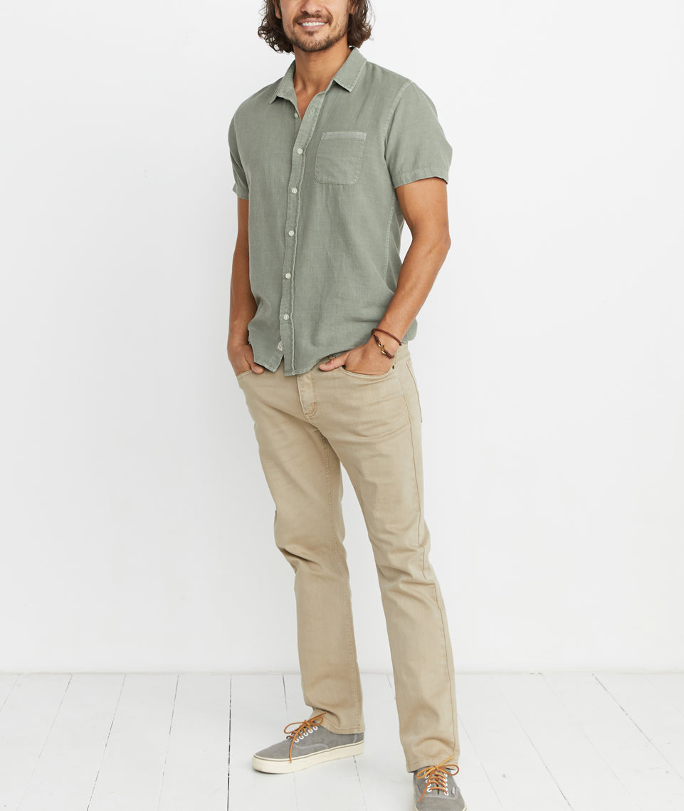 Lance Button Down in Faded Dusty Olive