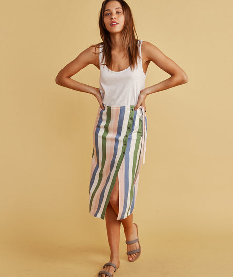 Layla Wrap Skirt in Multi Stripe