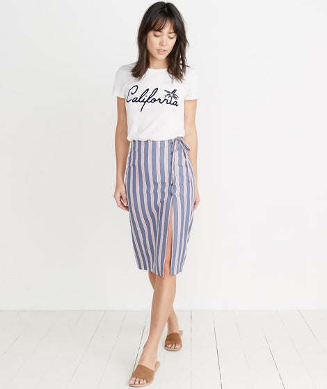Layla Wrap Skirt in Cream/Red Multi Stripe