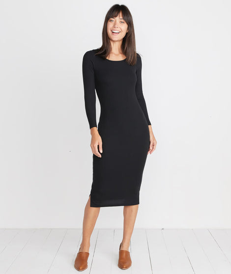 Longsleeve Lexi Midi Dress in Black Rib