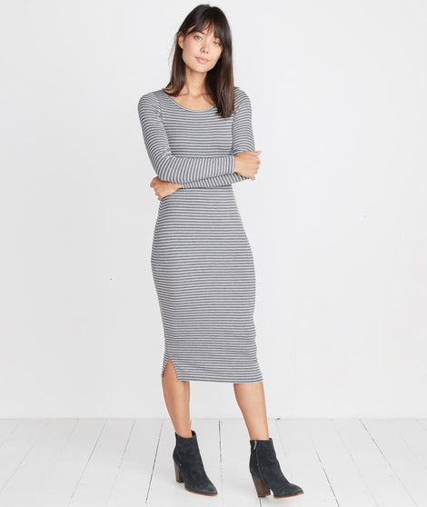 Longsleeve Lexi Midi Dress in Grey/White Stripe